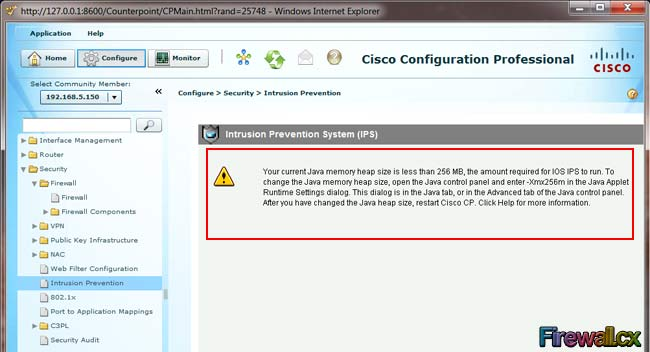 Cisco Java Heapsize Error