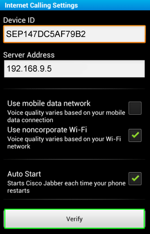 cisco jabber android internet calling settings