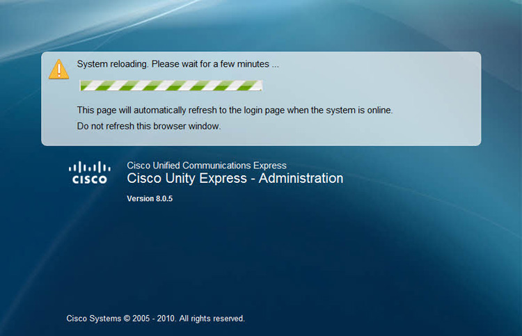 cisco unity express reboot