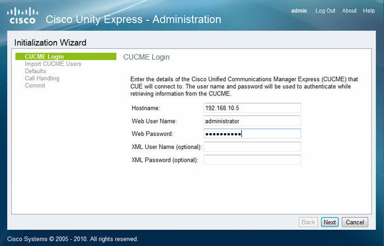 cisco unity express cme login credentials