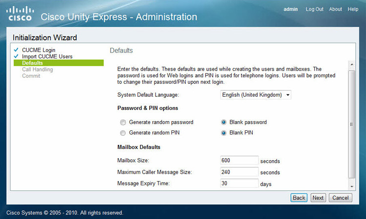 cisco unityexpress pin configuration