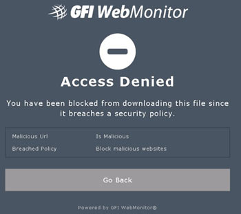 WebMonitor effectively blocks malicious websites while notifying users trying to access it