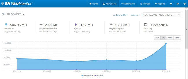 WebMonitor's Bandwidth graphs help monitor the organisation's upload/download traffic