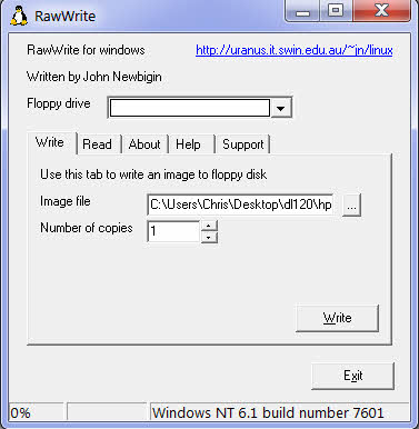 rawwrite usage and screenshot