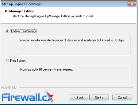 opmanager installation trial free edition