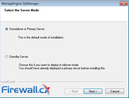 Selecting between Primary and Standby OpManager Installation