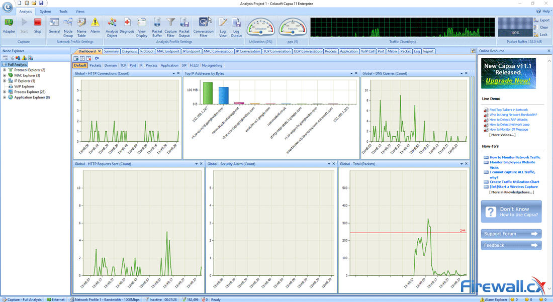 capsa enterprise v11 dashboard during capture