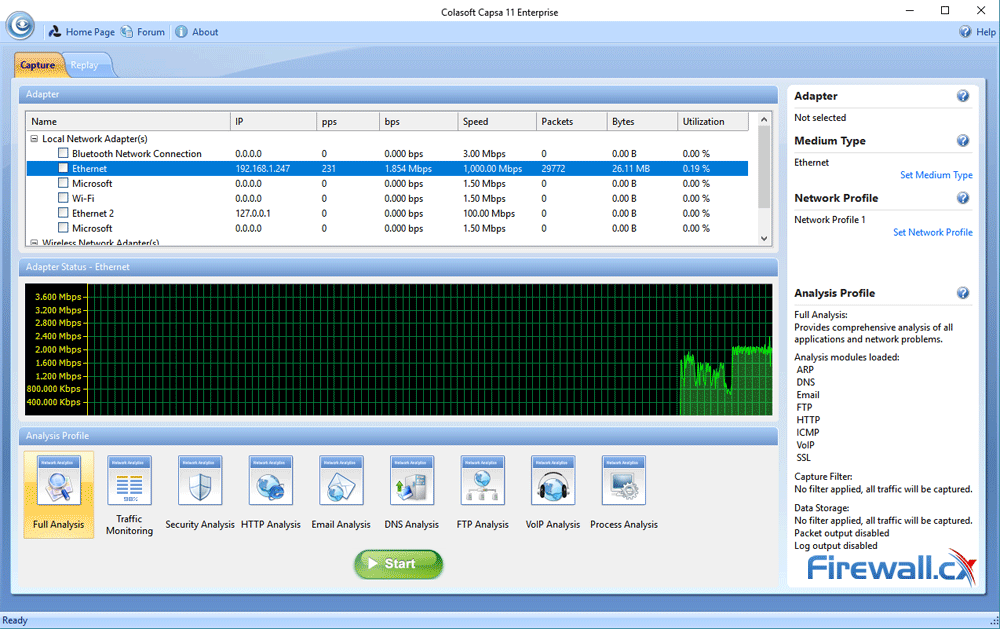 capsa enterprise v11 protocol analyzer dashboard