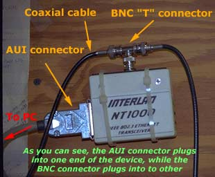 AUI to BNC 'T' Coaxial Connector