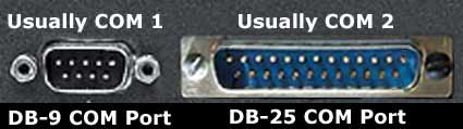 Physical Serial interface - DB-9 (usually COM1) and DB-25 (usually COM2)