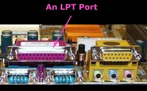 Physical LPT port on a computer motherboard