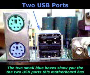 USB Ports on a PC motherboard