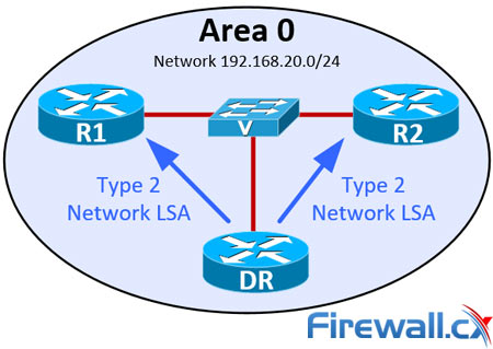 LSA Type 2 Packets exchanged between OSPF DR and neighbor routers