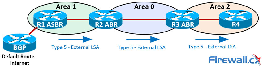 LSA Type 5 packets advertise the default route to all OSPF routers