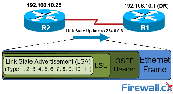 OSPF Link State Update (LSU) packet containing a Link State Advertisement (LSA)
