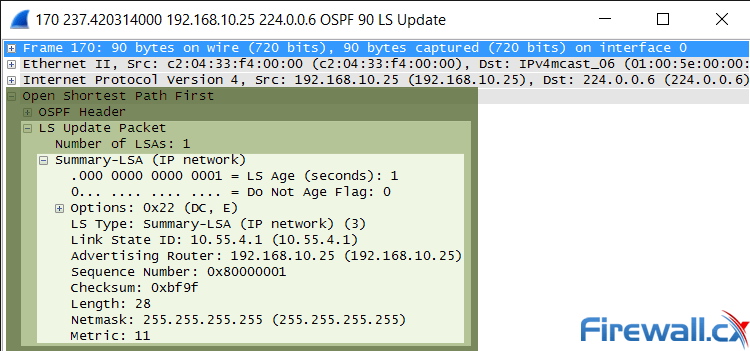 OSPF Link State Update and List State Advertisement within an Ethernet frame
