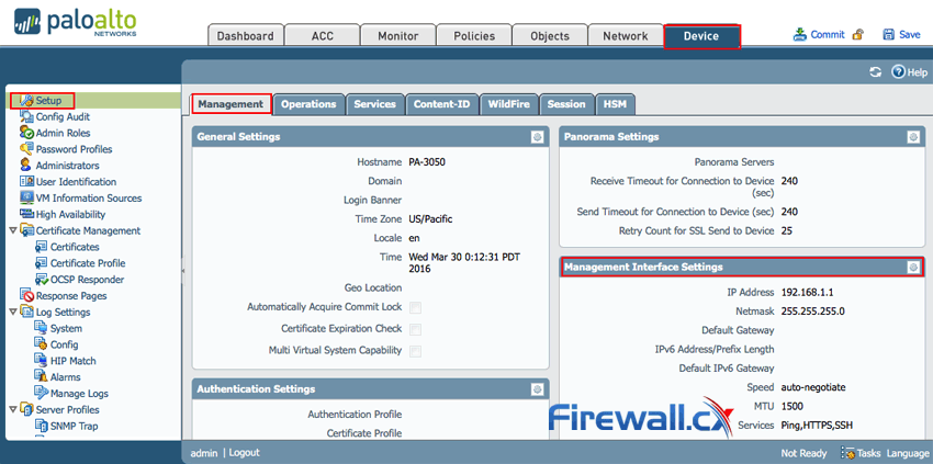 Accessing the Palo Alto Networks Firewall Management IP Address tab