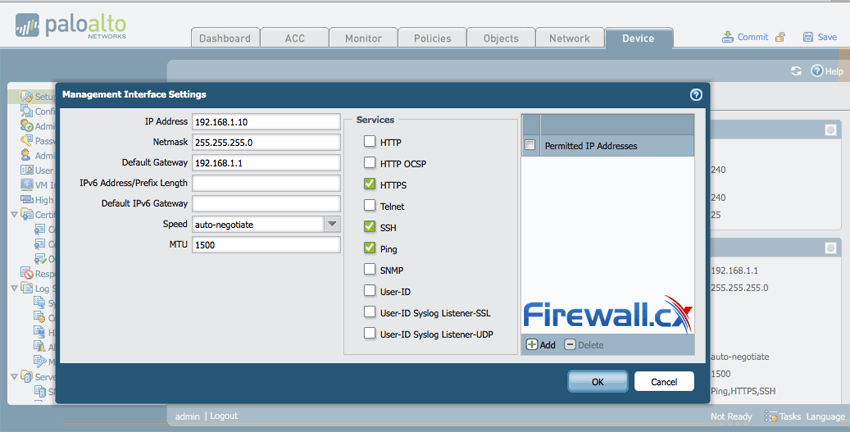 Changing the Management IP Address & services on the Palo Alto Networks Firewall