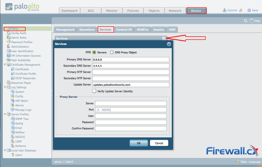 Configuring DNS Settings on Palo Alto Networks firewall