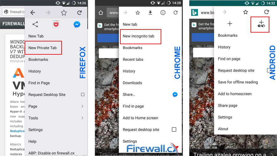 Enabling safe private browsing in Firefox, Chrome and Android O/S