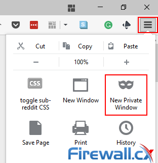 Anonymous browsing Firefox new private window