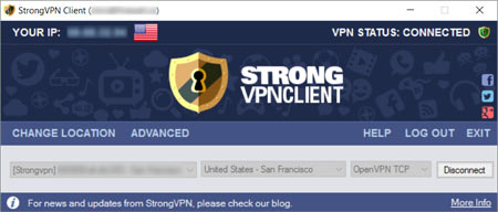 The StrongVPN VPN Client GUI interface