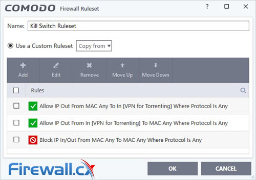 Comodo Firewall Ruleset for Torrent Kill Switch