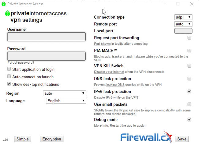 pia vpn client settings