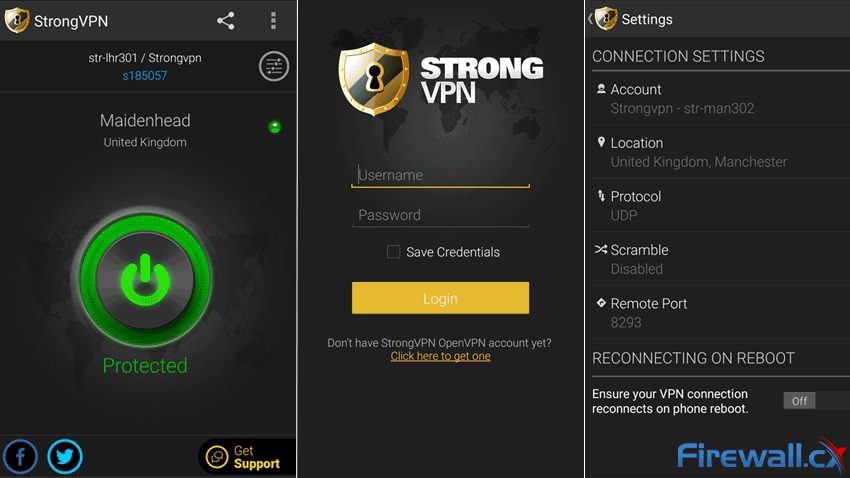 StrongVPN Mobile client - Great looking interface with heaps of options