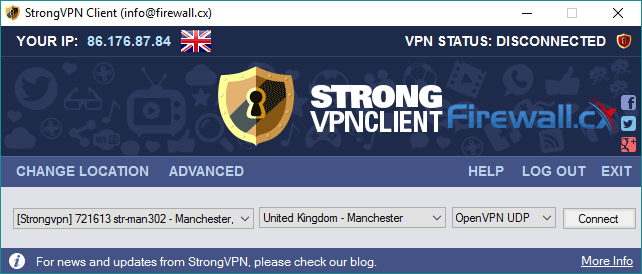 The StrongVPN client - Probably not the best looking GUI but surely the best service