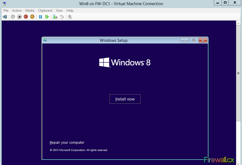 Hyper-V Begin Windows 8 VM installation