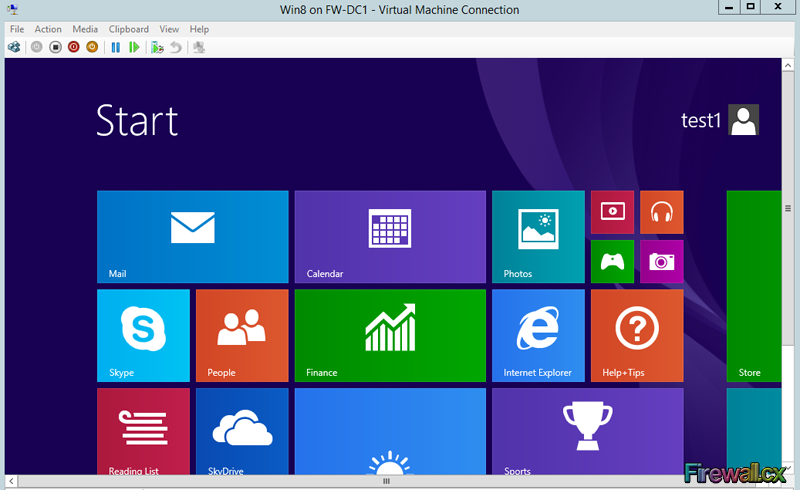 Hyper-V VM Windows8 Start Screen