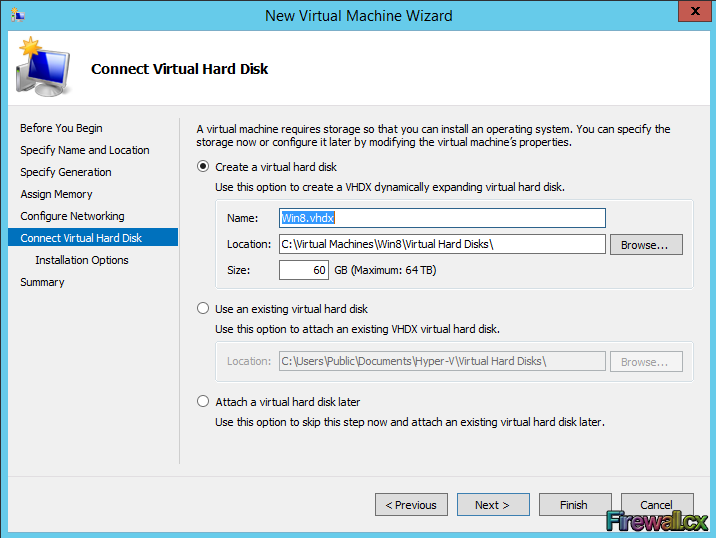 Hyper-V Configuring Virtual Hard Disk