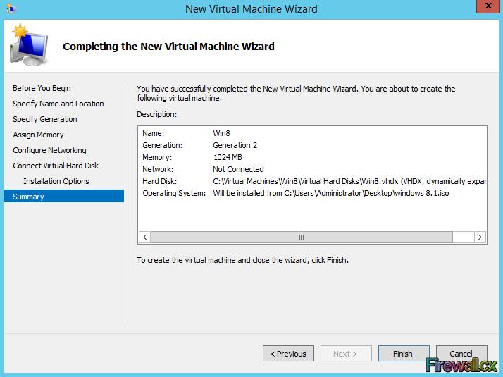 Hyper-V VM Summary Installation