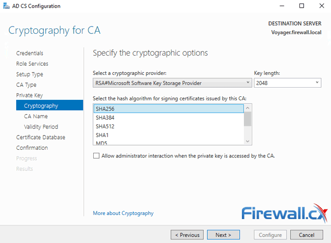 windows ca server configuration ca cryptography