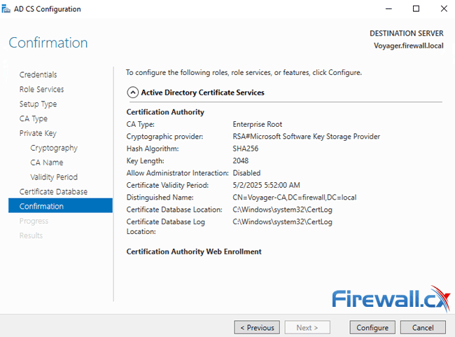 windows ca server configuration confirmation of settings