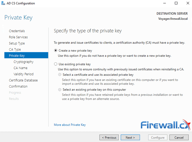 windows ca server configuration private key