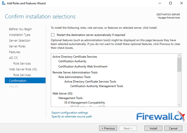 windows ca server installation confirm installation options