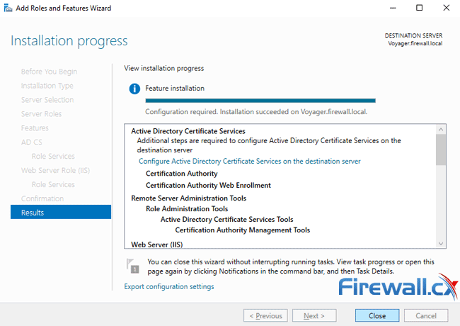 windows ca server installation progress