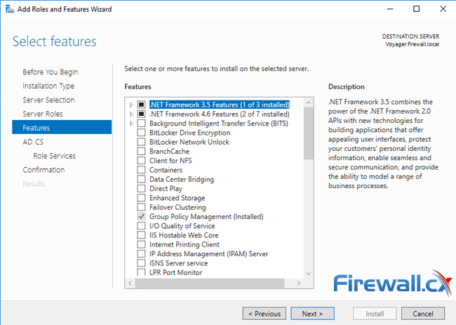 windows ca server installation select features
