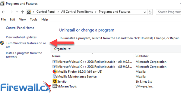 windows server turn features on off